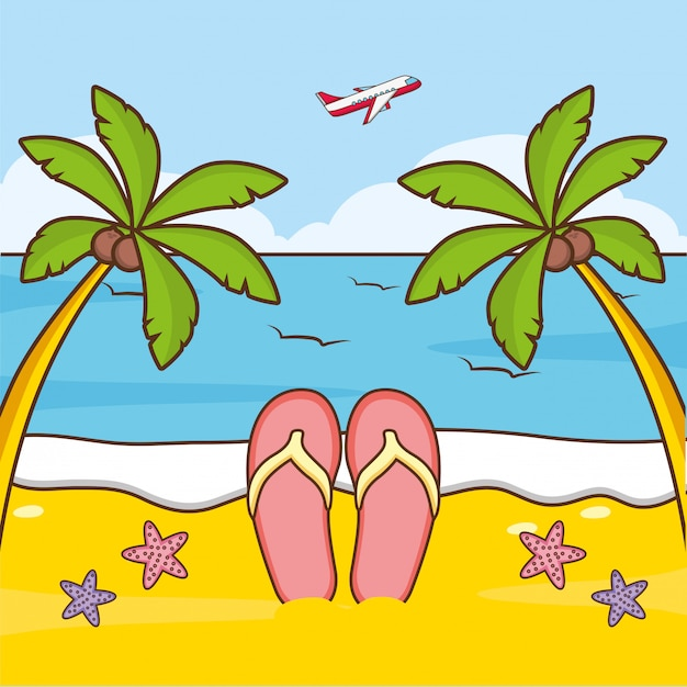 Wakacje Na Plaży | Darmowy Wektor