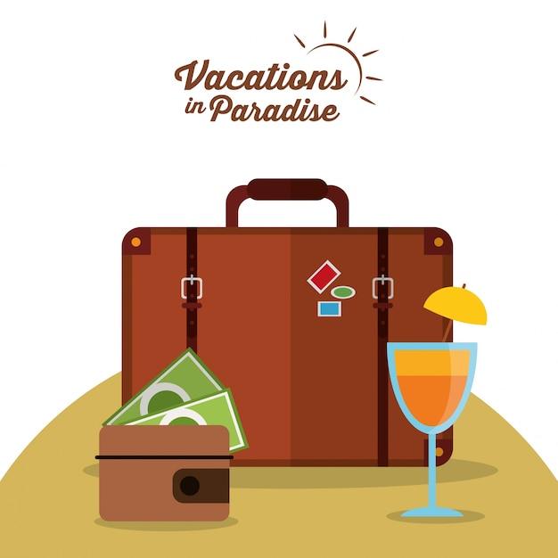 Wakacje w raju walizka portfel koktajl Premium Wektorów