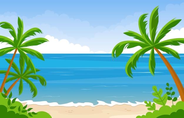 Wakacje W Tropikalnej Plaży Morze Palmy Ilustracja Lato Krajobraz Premium Wektorów
