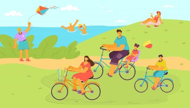 Wakacyjna Przejażdżka Rowerem W Kreskówka Natura Z Wodą, Rodzina Na Wakacjach Ilustracja. Ludzie Mężczyzna Kobieta Podróże, Wycieczka Na świeżym Powietrzu. Szczęśliwa Osoba Na Rowerze, Jeżdżąca Transportem Z Kołem. Premium Wektorów
