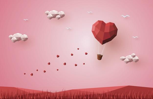 Wakacyjne Walentynki, Serce Balonu Na Ogrzane Powietrze, Low Poly 3d, Papierowe Rzemiosło Origami. Premium Wektorów