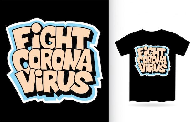 Walcz Z Wirusem Koronowym Ręcznie Rysowane Koszulkę Typografii Premium Wektorów