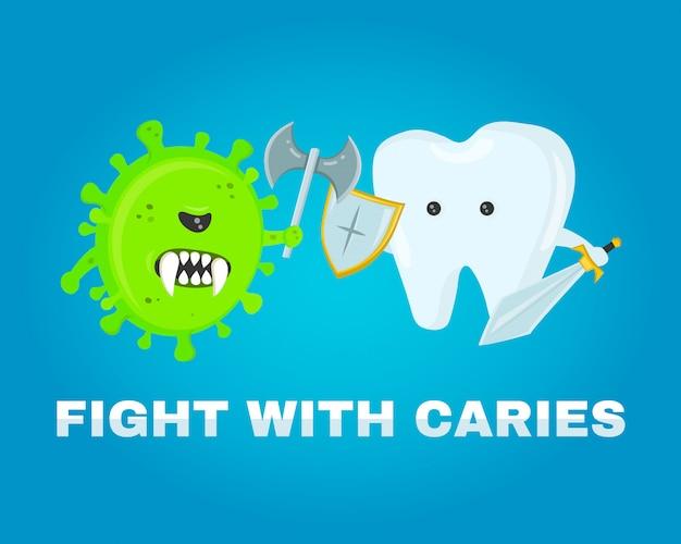 Walczący Ząb Z Ubytkami, Ubytkiem. Zdrowe Zęby . Bitwa O Chorobę. Zaatakowane Przez Zarazki Ubytków. Płaska Ilustracja Premium Wektorów