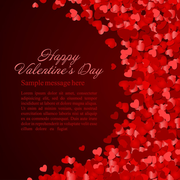 Walentynka Dnia Jarzy Się I Tapetuje Serce Confetti Z Miejscem Dla życzenie Projekta Ilustraci Premium Wektorów