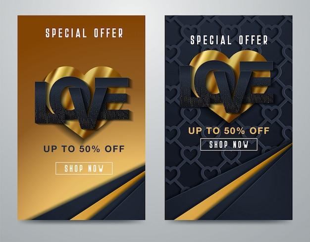Walentynka dnia sprzedaży super tło Premium Wektorów