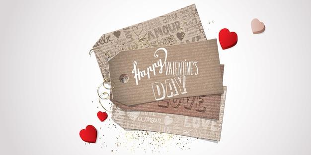 Walentynki baner Premium Wektorów