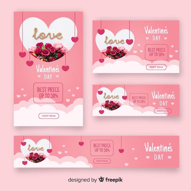 Walentynki banery z fotografii Darmowych Wektorów