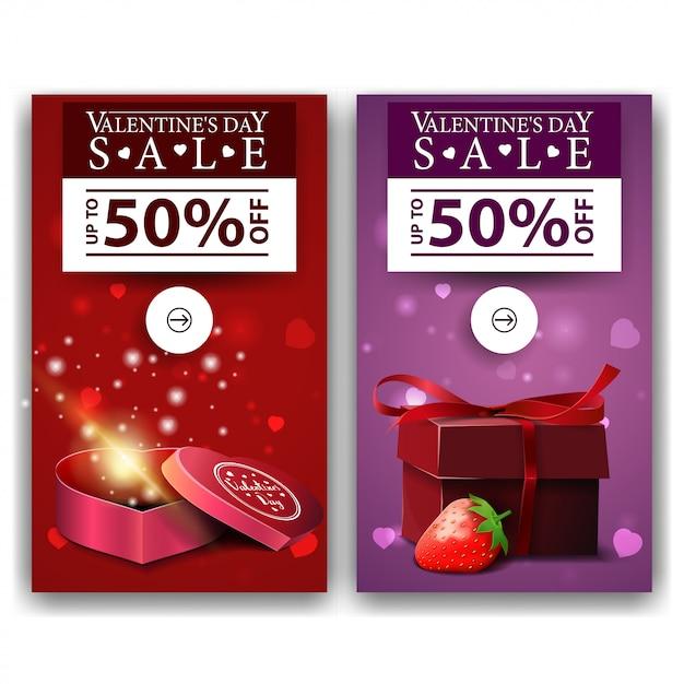 Walentynki banery z prezentami Premium Wektorów
