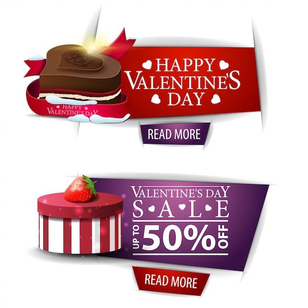 Walentynki banery z przyciskami, prezenty i cukierki czekoladowe Premium Wektorów