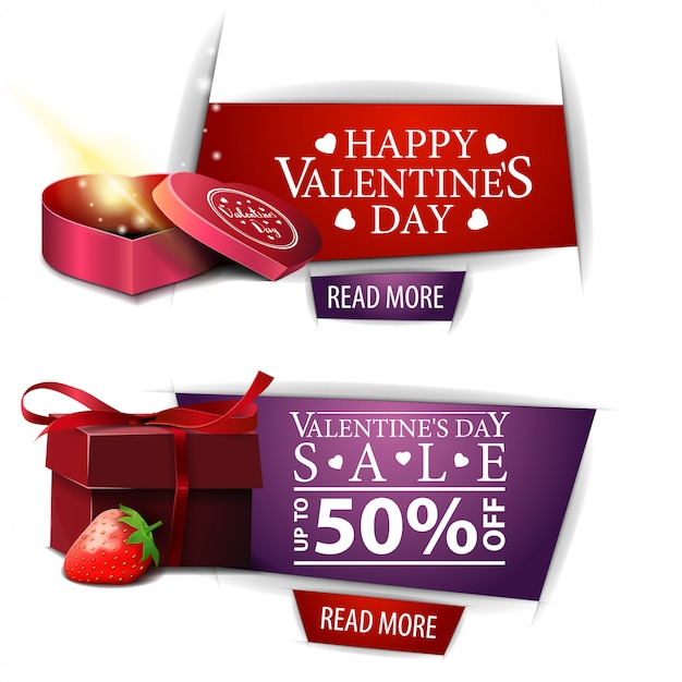 Walentynki banery z przyciskami, prezenty i truskawki Premium Wektorów