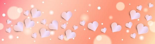 Walentynki Bokeh Tło Z Różowym Sztandarem Serca Premium Wektorów