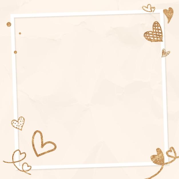 Walentynki Brokatowe Serce Ramki Beżowe Pogniecione Tło Darmowych Wektorów