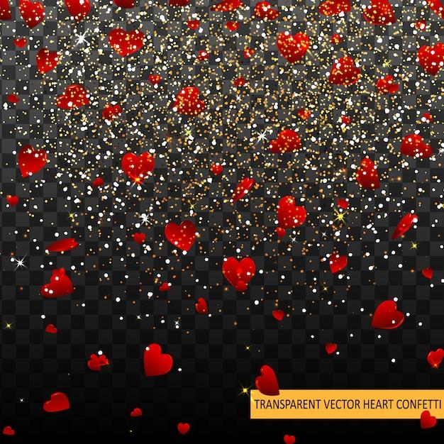 Walentynki Czerwone Serca Konfetti Płatki Spadające Tło. Wzór Tekstury Serca. Element Dekoracyjny Szablon Do Projektów Walentynkowych, Zaproszenia, Imprezy, Urodziny, Wesele Premium Wektorów
