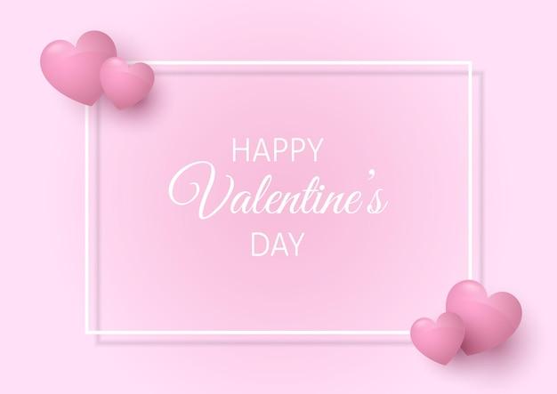 Walentynki-dzień Tło Z Białą Obwódką I Różowymi Sercami Darmowych Wektorów