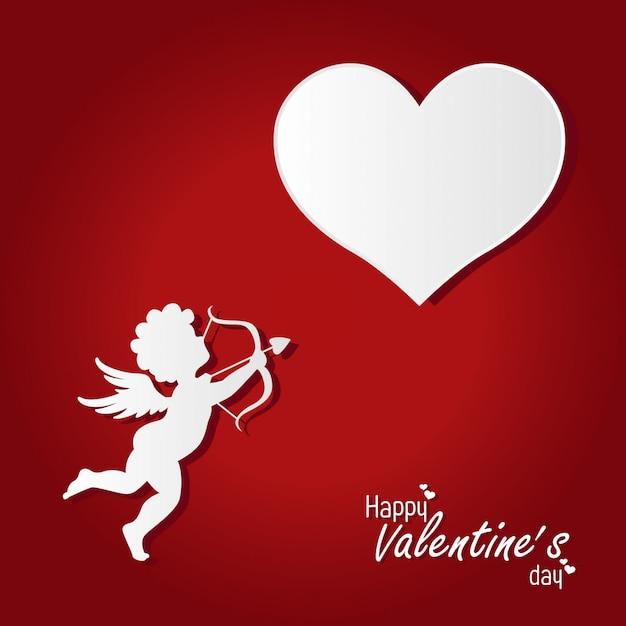 Walentynki-dzień tło z kupidyna Premium Wektorów
