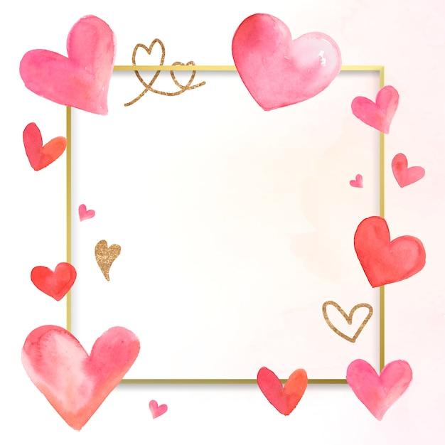 Walentynki granicy akwarela ilustracja Darmowych Wektorów