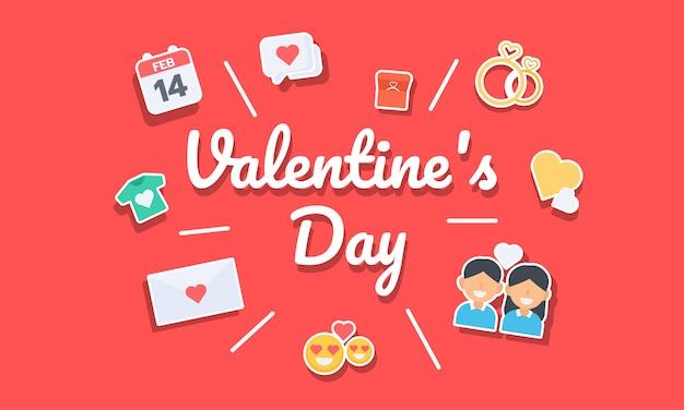 Walentynki ikona i transparent typografii Premium Wektorów