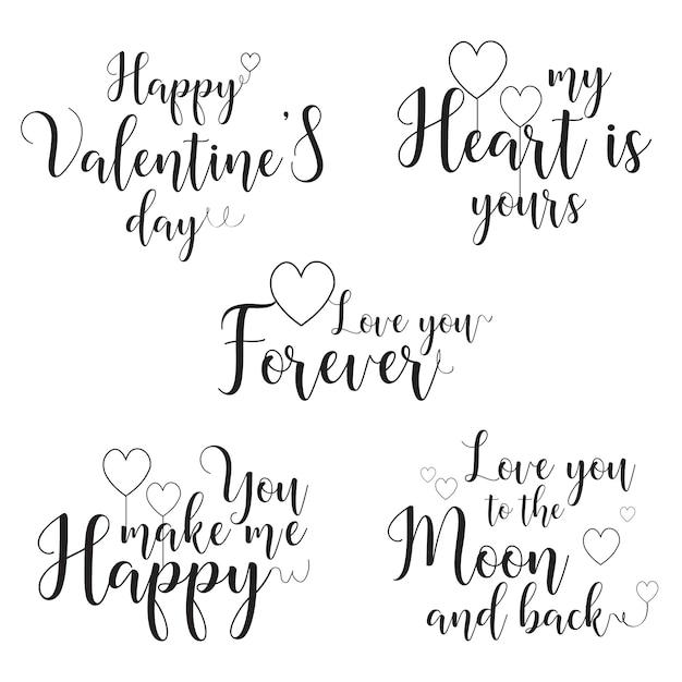 Walentynki Kaligrafia Cytat Wektor Szablon (motyw Miłości) Premium Wektorów