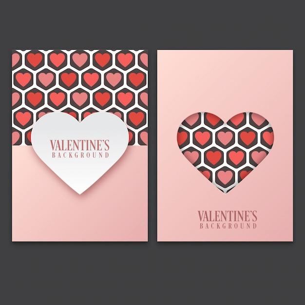 Walentynki Karta Z Cute Wzór Serca Premium Wektorów