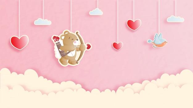 Walentynki Karta Z ślicznym Misiem W Papieru Cięcia Stylu Ilustraci. Premium Wektorów