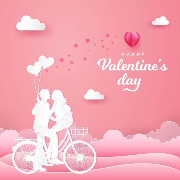 Walentynki Kartkę Z życzeniami. Para Siedzi Przy Jednym Rowerze I Patrzy Na Siebie Jedną Ręką Trzymając Balony W Kształcie Serca Na Różowo Premium Wektorów