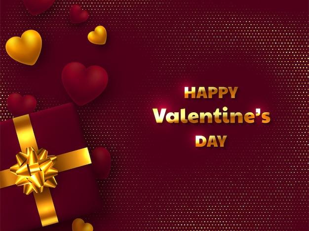 Walentynki Kartkę Z życzeniami. Pudełko Ze Złotą Kokardą, Sercami 3d I Tekstem Pozdrowienia Premium Wektorów