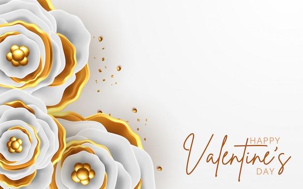 Walentynki Kartkę Z życzeniami Z Kwiatów Tła Premium Wektorów