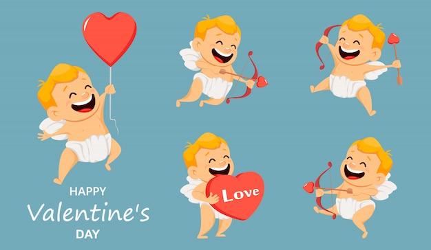 Walentynki Kartkę Z życzeniami Z ładny Amorek. Premium Wektorów