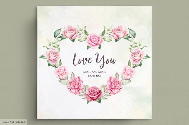 Walentynki Kartkę Z życzeniami Z Pięknym Kwiatowym I Liśćmi Darmowych Wektorów