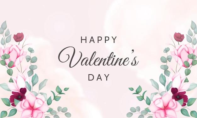 Walentynki Kartkę Z życzeniami Z Pięknym Kwiatowym Darmowych Wektorów