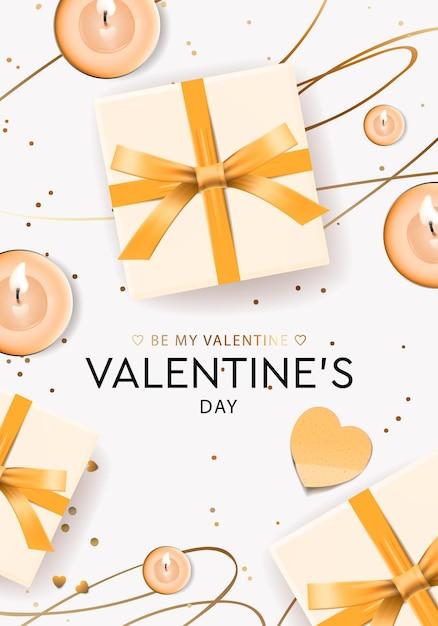 Walentynki Kartkę Z życzeniami Z Pudełka Na Prezenty I świece. Premium Wektorów