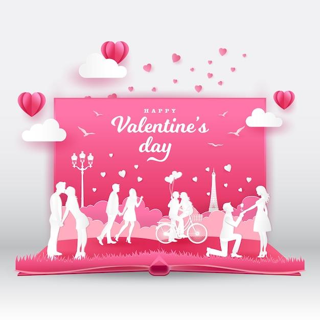 Walentynki Kartkę Z życzeniami Z Zakochanych Romantycznych Par. 3d Cyfrowa Wystrzał Up Książka Z Papieru Cięcia Stylu Wektoru Ilustracją Premium Wektorów