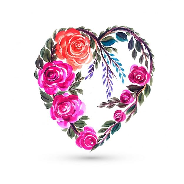 Walentynki Karty Z Sercem Kolorowy Kwiat Darmowych Wektorów