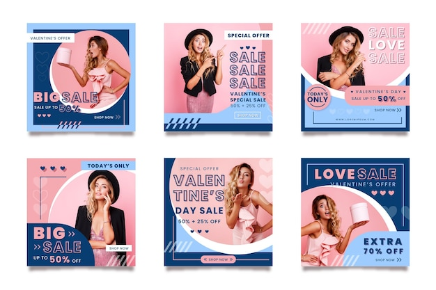 Walentynki Kolekcja Postów Na Instagramie Ze Specjalną Sprzedażą Darmowych Wektorów