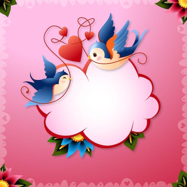 Walentynki miłość ptaki z ilustracji serca i słowo balon vector Darmowych Wektorów