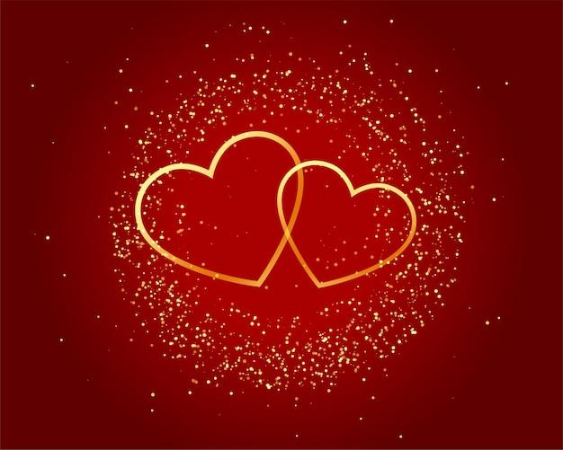 Walentynki Musujące Miłość Złote Serca Na Czerwonym Tle Darmowych Wektorów