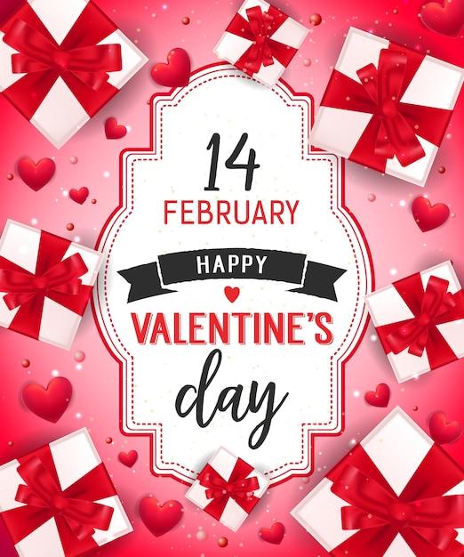 Walentynki Napis Z Pudełka Premium Wektorów