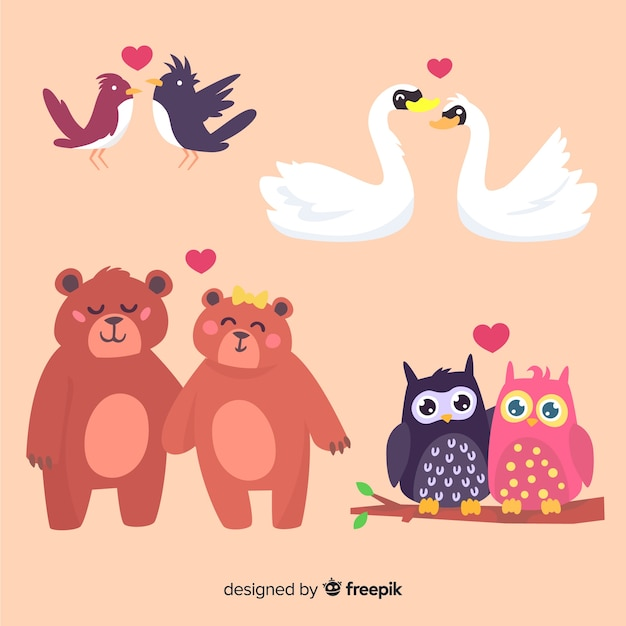 Walentynki Para Zwierząt Kolekcja Darmowych Wektorów