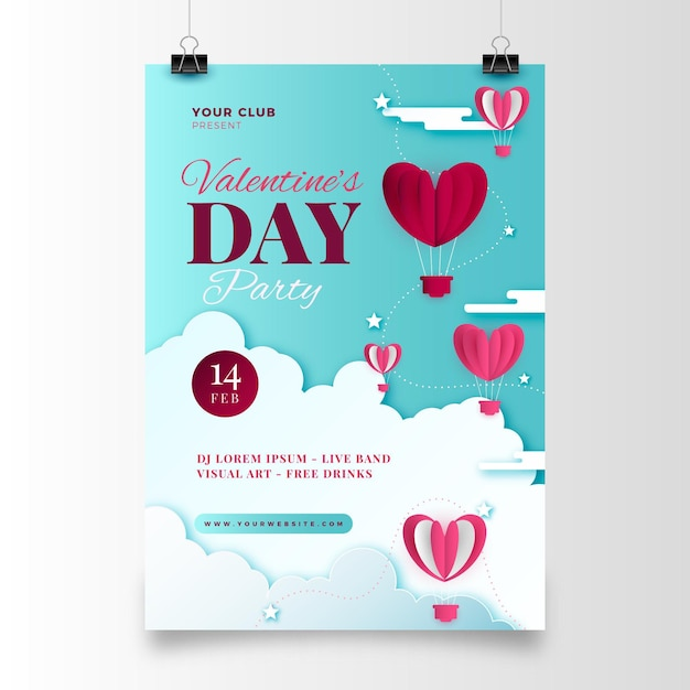 Walentynki Party Plakat W Stylu Papierowym Darmowych Wektorów