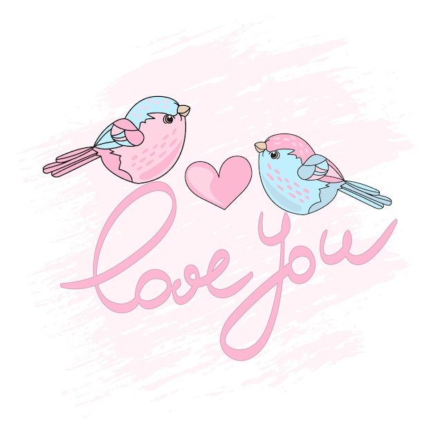 Walentynki ptaki zestaw ilustracji wektorowych kreskówka wiosna Premium Wektorów