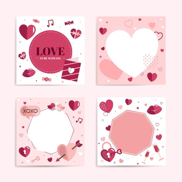 Walentynki puste tło wektor zestaw Darmowych Wektorów