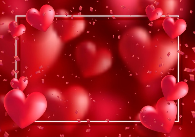 Walentynki Ramki Z Sercami I Konfetti Darmowych Wektorów