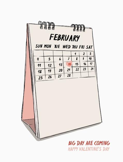 Walentynki ręcznie remis 14 lutego wektor kalendarza. Premium Wektorów