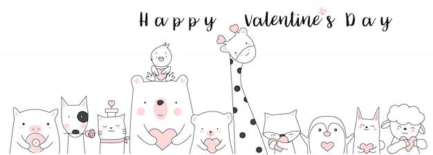 Walentynki ręcznie rysowane stylu tła Premium Wektorów