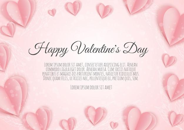 Walentynki . Różowe Papierowe Serca. ładny Transparent Sprzedaż Miłości Lub Kartkę Z życzeniami Premium Wektorów