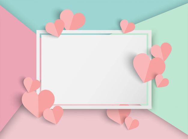 Walentynki Różowy Tło W Kształcie Serca Premium Wektorów
