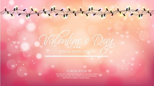 Walentynki różowy tło z światłami Premium Wektorów