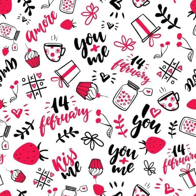 Walentynki S Wektor Wzór Pojedyncze Artystyczne Doodle Rysunki
