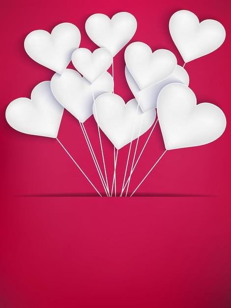 Walentynki Serce Balony Na Czerwonym Tle. Premium Wektorów