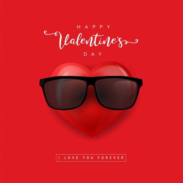 Walentynki Serce W Okularach Przeciwsłonecznych. Serce Ikona Kreskówka. Czerwone Serce Emoji. Ilustracja Premium Wektorów